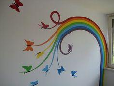 Mural by SigArt for Marlayne Muurschildering gemaakt voor Marlayne, made by SigArt - Colorful Baby Rooms Rainbow Bedroom, Rainbow Wall, Rainbow Room Kids, Rainbow Nursery, School Murals, Rainbow Painting, School Decorations, Little Girl Rooms, Room Paint