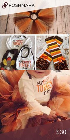My first thanksgiving turkey day bundle My first turkey day bundle. Made to fit size 9 months but note that the leggings and the tutu are OS. I had the tutu and leggings custom ordered off of Etsy. The bibs and onesie are carters brand. In the bundle you get: One my first turkey day onesie. Two thanksgiving bins: one my first turkey day to match the onesie and one turkey bib. Two leg warmer style leggings in fall colors. Full ruffles at feet. One tulle tutu in different fall colors with…