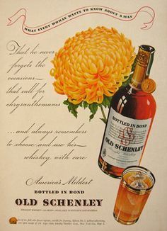 1940 Old Schenley Whiskey Ad ~ Chrysanthemum