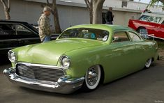 1951 Ford chopped by Drag-N-Shop, with a custom interior and lime green paint.