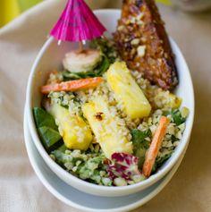Aloha Salad with Tiki Tempeh by healthyhappylife #Salad #Tempeh #Pineapple #healthyhappylife