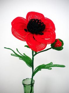 French beading - poppy