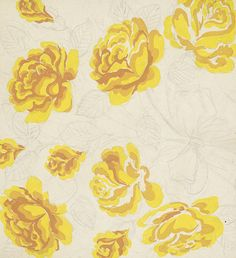 Textile Design of Yellow Roses | LACMA Collections