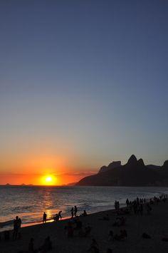Sunset in Rio de Janeiro, Brazil.