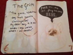 #wtj wreck this journal coffee page ideas. The grim from Harry Potter inspired page