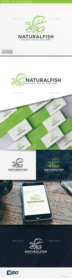 Natural Fish by fand Natural Fish Logo Template This logo design suitable for business, animal, fish, seafood, food, green, nature, natural, leaf, heal