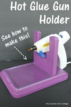How to make a hot glue gun holder -- make this for your home or craft room! Great tutorial on how to make a hot glue gun holder. Every craft room needs one of these to keep your hot glue handy and mess free. Craft Room Storage, Craft Organization, Paper Storage, Organizing Tips, Craft Rooms, Space Crafts, Home Crafts, Diy And Crafts, Craft Space