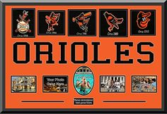 Baltimore Orioles Wool Felt Logos With Team Name Mat Cut Out Letters & With Personal Photo Openings