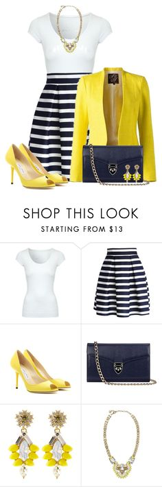 """Navy & Yellow"" by stay813 ❤ liked on Polyvore featuring Jane Norman, Chicwish, Jimmy Choo, Aspinal of London and Stella & Dot"