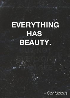 'everything has beauty. but not everyone can see it' - confucious.