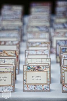 "Love these place cards for a ""Home is Where the Heart Is"" themed wedding! #maps #placecards #escortcards"