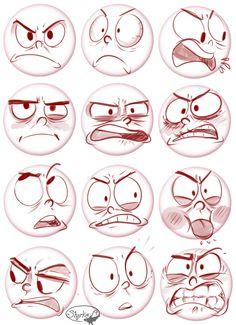Drawing Tips 表情 Cartoon Faces, Cartoon Styles, Cartoon Drawings, Cartoon Art, Drawing Sketches, Drawing Tips, Body Drawing, Drawing Base, Facial Expressions Drawing