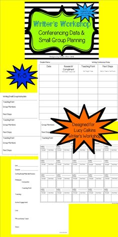 Organize your writer's workshop lessons, conferencing data and small group instruction with this file-designed for use with Lucy Calkins Units of Study for writing.