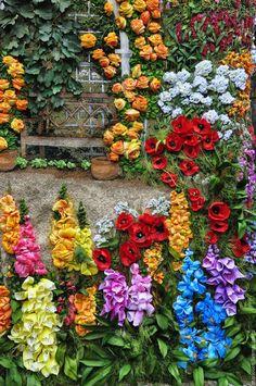 """Ribbon embroidered tapestry  /  Вышивка лентами на гобелене """"Волшебный сад"""" — работа дня на Ярмарке Мастеров.  Узнать цену и купить: mariosen.livemaster.ru"""