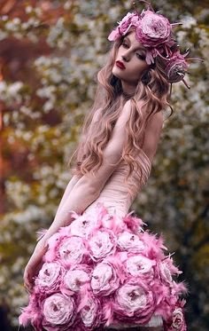 ❀ Flower Maiden Fantasy ❀ beautiful photography of women and flowers - pink posy dress