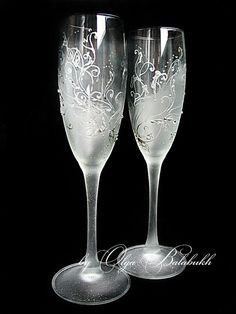 Two Very Gentle Wedding Glasses Painted By Hand Perfectly Complement Your Winter Ceremony Each Is Completely Handmade That Why They