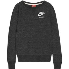 Nike Vintage cotton-blend jersey sweatshirt (23.480 CRC) ❤ liked on Polyvore featuring tops, hoodies, sweatshirts, shirts, sweaters, sweatter, clothing - ls tops, charcoal, loose fitting shirts and charcoal grey shirt