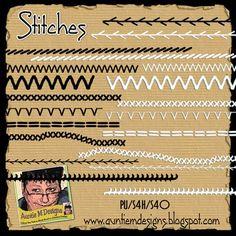 Free Digital Scrapbooking Element - Stitches
