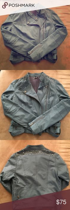 Cool leather jacket This gently used pale blue leather jacket with rhinestone detailing is the essence of rocker chic! Wear with a cool pair of jeans or leggings and some combat boots! Sparkle & Fade Jackets & Coats