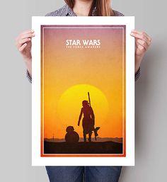 "STAR WARS The Force Awakens Inspired Rey & BB-8 Minimalist Movie Poster Print - 13""x19"" (33x48 cm)"