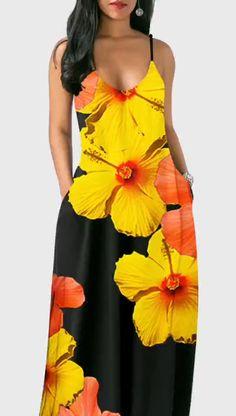 Floral Dresses For Women 2019 Modest Dresses, Simple Dresses, Casual Dresses, Floral Dresses, Look Fashion, Fashion Outfits, Club Party Dresses, Beachwear Fashion, African Fashion Dresses