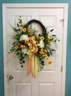 Spring Door Wreath, Door flowers for Spring, Spring flowers for door, Easter Wreath, Mothers Day Gift, Spring Door Decoration, Door wreath by TammysCreatedDesigns on Etsy