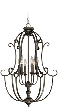 Features:  -Foyer pendant.  -Number of lights: 6.  -Material: Metal.  -Number of sockets: 6.  -Voltage: 120.  -Finish: Mocha bronze.  Fixture Type: -Foyer pendant.  Style: -Traditional.  Finish: -Moch