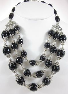 DESIGNER Silver Plated Black Crystal Briolet Beaded Rhinestone Layered Necklace at www.ShopLindasStuff.com