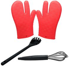 Silicone Cookware Set - Silicone Hot Mitts, Silicone Whisk and Silicone Pasta Claw - Protective Oven, Grill, BBQ, Fireplace, Microwave, Baking, Smoking and Cooking Gloves for Men and Women - Non-Stick Silicone Whisk is Pefect for Whisking or Stirring Sauces, Gravies, Eggs, Creams - Heat Resistant Non-Stick Silicone Pasta Fork -- Check out this great image  : Cookware Sets