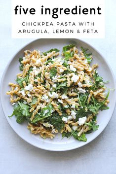 This recipe is one of my favorite ways to eat chickpea pasta just a few simple ingredients; lemon arugula feta and garlic. Its quick and easy to make and only has FIVE ingredients! Real Food Recipes, Diet Recipes, Vegetarian Recipes, Cooking Recipes, Healthy Recipes, Simple Pasta Recipes, Healthy Breakfasts, Greek Recipes, Recipes Dinner