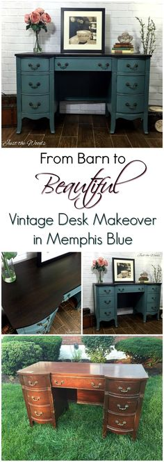 Vintage Desk rescued from old barn has been hand painted memphis blue with stain top/ Barn rescue/ by Just the Woods. Painted Desk Makeover. Click to get this gorgeous color yourself!