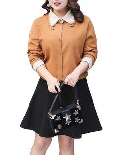 [US$60.51] Plus Size Elegant Women Corduroy Collar Patchwork Blouse #plus #size #elegant #women #corduroy #collar #patchwork #blouse