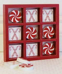 How cute is this? 6'' Tic-Tac-Toe Game Wall Art Christmas candy cane
