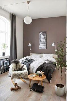 Chambre couleur lin taupe et blanc | Bedrooms, Salons and Decoration