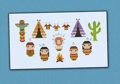 Little Indians Village Cross stitch PDF pattern door cloudsfactory