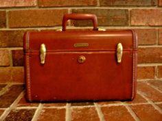 Vintage-Leather-Samsonite-Luggage-Shwayder-Bros-Train-Makeup-Case-Cognac-Brown