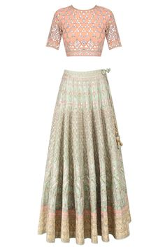 Sage green and peach 16 kali shaped embroidered lehenga set available only at Pernia's Pop Up Shop.