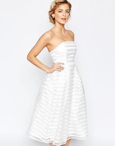 True Decadence Midi Prom Dress In Stripe. Reminds me of a Barbie wedding dress. Cream Prom Dresses, Cream Midi Dress, White Wedding Dresses, Bridesmaid Dresses, White Bandeau Dress, Striped Midi Dress, White Dress, Peplum Dress, After Wedding Dress