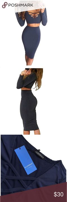 ✨💫NEW Sexy 2 Piece Navy Bodycon Skirt and Top 💫✨ Cotton Blend Material, Soft Fitted and Stretch Deep V-neck With Criss-Cross Stitching Along The Bust.Sexy 2 Pieces Skirt Dress,Just Screams Date Night, Girls Night Long Sleeve Mid Dress Best For Autumn and Winter Party allegrace Tops