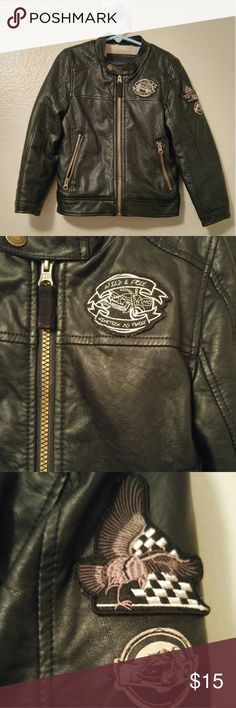 London Fog Kids Faux Leather Moto Jacket This London Fog Moto Jacket outfits your little one in super cool leather-like style. Zip front design with fleece lining, front zipper pockets, and cool patchwork details. Faux leather/rayon. Machine washable. Great condition, only worn a few times. Kids Size 5/6. London Fog Jackets & Coats