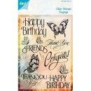 "Joy!Crafts Clear Stamps ""Sayings"" Motivstempel Schmetterlinge, Happy Birthday"