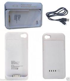 Funda Carcasa Con Bateria Externa de 1900 mah iPhone4 4 4S ESPAÑA COLOR BLANCO