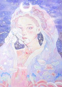 #hanbok #한복 #illustration #일러스트 #pastel #파스텔 #girl #drawing #korea #혜강 #wartercolor