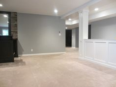 half walls are perfect for basement renovations - keeping space open, while hiding structural posts