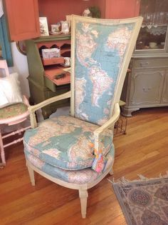 Stockist vintage restorationsgreen brick vintage of ogden ut stockist vintage restorationsgreen brick vintage of ogden ut shares two lovely chairs reupholstered with the vintage world map from the annie slo gumiabroncs Gallery