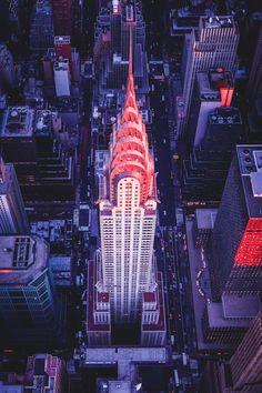 Chrysler Building Aerial Sunset | vividessentials