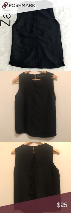 """Zara Black Sleeveless Two Layer Top-Small Scoop up this adorable Zara top fast! Zara  Woman Sleeveless Two Layer High Low Top Career Blouse Womens Black Size Small. 📍 in great pre owned condition no rips, stains or much wear!  Non smoking home.  Zara woman black two layer high low top. Soft, knit lining with sheer woven shell over the top.   Measurements (taken with garment laying flat): Armpit-to-armpit: 24"""" length: Zara Tops Blouses"""