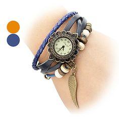 Reloj de las mujeres de cuero de cuarzo analógico (Banda Naranja) – USD $ 5.59