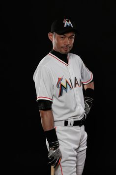 Ichiro Suzuki of the Miami Marlins poses for a photograph at Spring  Training photo day at Roger Dean Stadium on February 2015 in Jupiter 881c62513