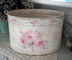 Debi Coules Shabby French Chic Art Bucket / Pail